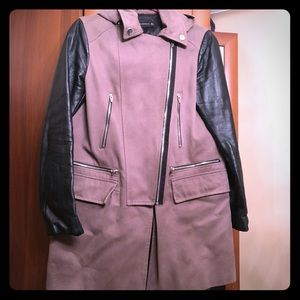 Zara Canvas Coat with Leather Sleeves